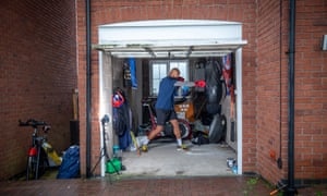 Clarke training on the bag at his home in Burton-on-Trent.
