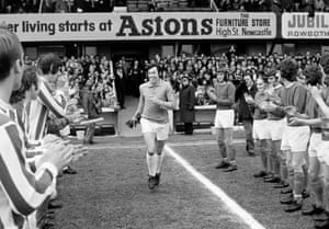 Stoke City goalkeeper Gordon Banks is applauded onto the field by both teams prior to the First Division match between Stoke City and Everton at the Victoria Ground in April 1972 after Banks was named winner of the Football Writers Association's Player of the Year for 1972