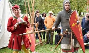 Reenactors at a Battle of Hastings encampment in Hyde Park, London