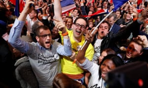 Supporters of French presidential election candidate Emmanuel Macron.