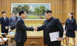 Kim Jong-un, right, with Chung Eui-yong
