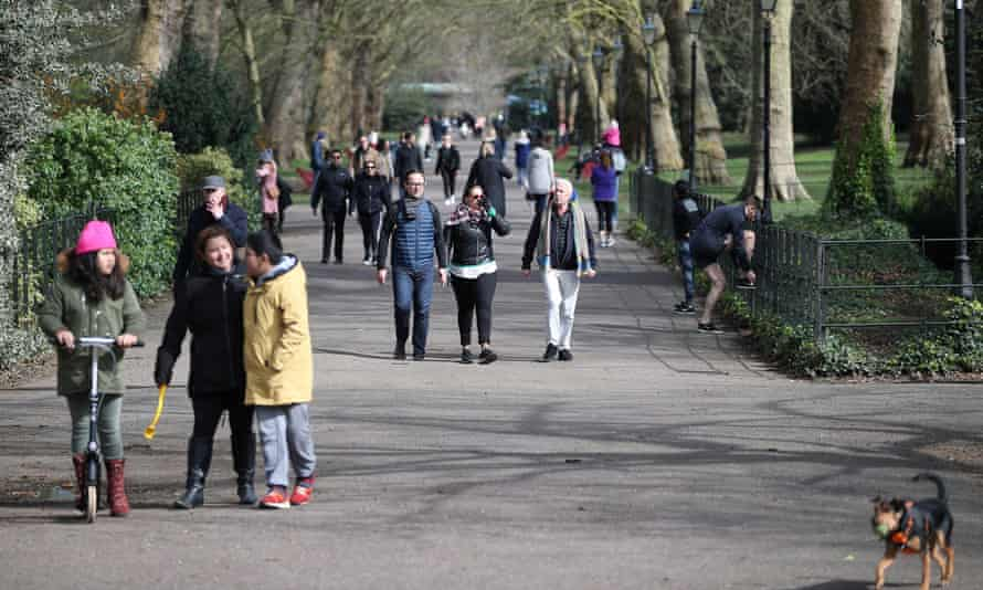 Crowds in Battersea Park, London, on 21 March