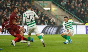 Celtic's Mohamed Elyounoussi scores his side's second goal courtesy of a deflection.