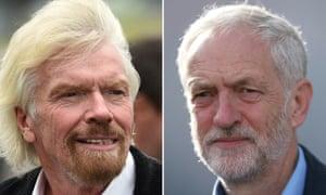 Composite: Richard Branson and Jeremy Corbyn