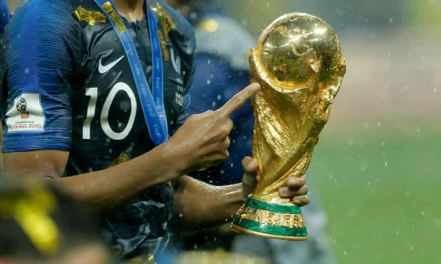 Kylian Mbappé celebrates winning the 2018 World Cup