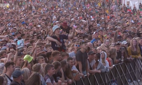 Alex Mann demonstrates his skills before joining Dave on the Other stage at Glastonbury