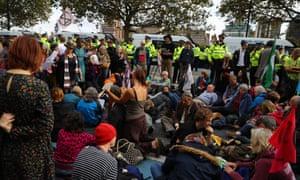 Extinction Rebellion protesters outside MI5.