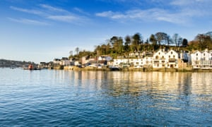 Fowey village and estuary in Cornwall on a bright February morning.