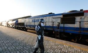 A South Korea train prepares to travel across the border into North Korea.