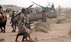 Yemeni forces make major gains south of Hodeidah<br>epa06847534 Yemeni government forces backed by the Saudi-led coalition take position during an attack on the port city of Hodeidah, on the outskirts of Hodeidah, Yemen, 27 June 2018 (Issued 28 June 2018). According to reports, Yemeni government forces backed by the Saudi-led coalition have made major gains south of Hodeidah during a military offensive to regain control of the Red Sea port-city that acts as an entrance point for Houthi rebel supplies and humanitarian aid.  EPA/NAJEEB ALMAHBOOBI