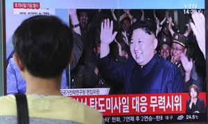 A TV in South Korea shows Kim Jong-un during the North's latest test launch of an intercontinental ballistic missile. Rex Tillerson has said the US does not seek regime change in Pyongyang.