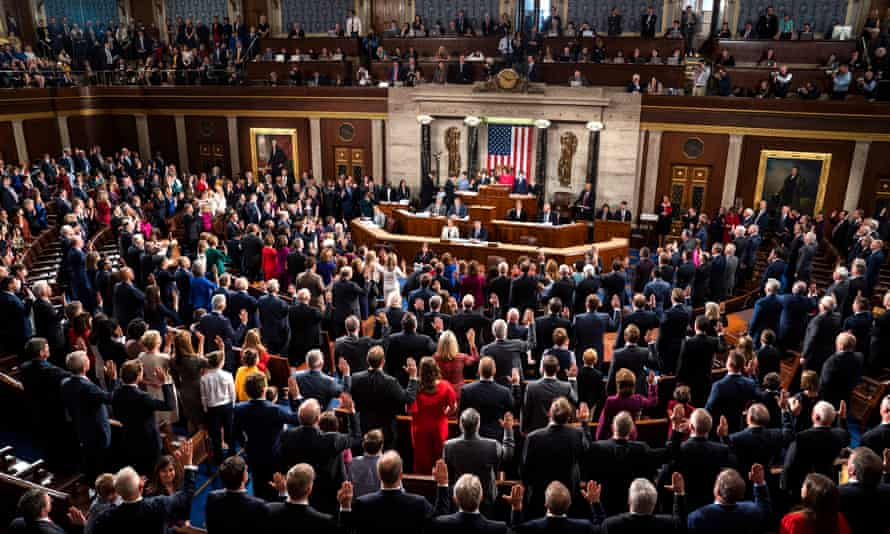 The speaker of the House, Nancy Pelosi, swears in members of the 116th Congress.