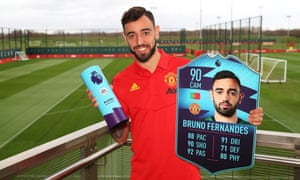 Bruno Fernandes with his award as the Premier League's player of the month for February.