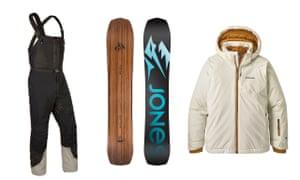 Composite image of Páramo's Enduro salopettes; a Jones Flagship snowboard; and a Patagonia girl's Snowbelle ski jacket