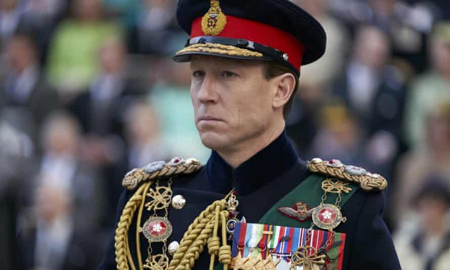 Tobias Menizes as Prince Philip in miliary dress uniform