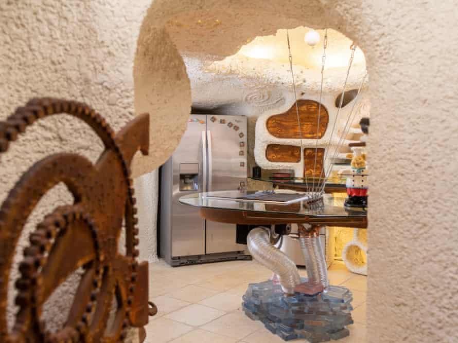 Details inside the Flintstones House kitchen in Hillsborough, California.