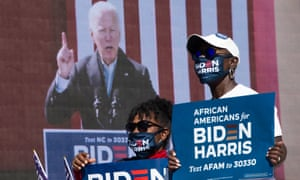 Supporters of Democratic presidential nominee Biden listen to him during a speech in North Carolina yesterday.