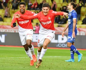Guido Carrillo celebrates after scoring for Monaco against Troyes.