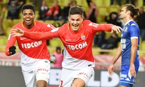 Guido Carrillo, celebrating here after scoring for Monaco, has primarily been a substitute this season.