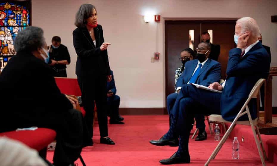 Representative Lisa Blunt speaks with Joe Biden, along with members of the clergy and community leaders at Bethel AME church in Wilmington, Delaware.