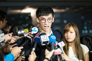 Sixtus 'Baggio' Leung and Yau Wai-ching speak to the press about efforts by the Hong Kong government to bar them from taking the legislative council oath again.