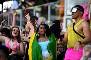 Sydney, Australia: spectators are seen in the crowd during the 43rd annual Gay and Lesbian Mardi Gras parade at the Sydney Cricket Ground
