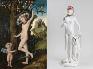 Cranach's Cupid Complaining to Venus the Elder, 1526-7, and Claire Partington's Venus and Cupid, 2020.