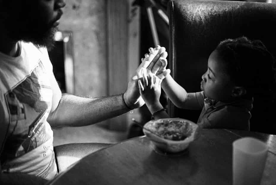 A playful interlude between spoons of rice and stew