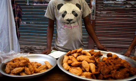 A temporary food stall is seen in a street in Old Dhaka, Bangladesh