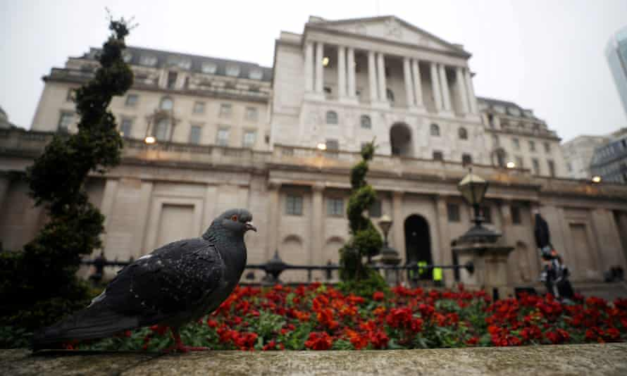 A pigeon in front of the Bank of England in London