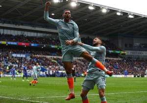 Ruben Loftus-Cheek celebrates scoring Chelsea's second to beat Cardiff City 2-1 away at The Cardiff City Stadium.