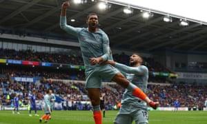 Chelsea's Ruben Loftus-Cheek celebrates scoring their second goal with Olivier Giroud.