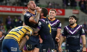 Nelson Asofa-Solomona of the Storm celebrates his try against the Parramatta Eels.