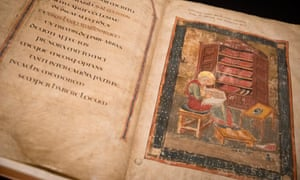 The Codex Amiatinus, has returned to England for the first time in 1,302 years as part of a new British Library exhibition.
