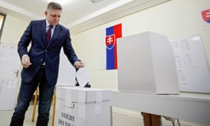 Slovakian prime minister Robert Fico casts his ballot at a polling station during the parliamentary election.