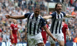 Salomon Rondon celebrates after scoring the equaliser against Liverpool.