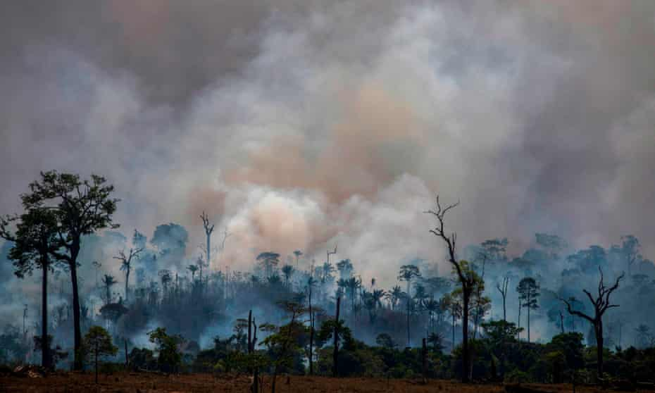 Smokes rises from the Amazon on August 27, 2019.