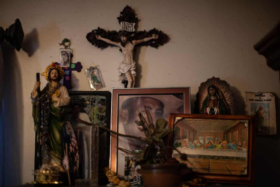 Elyria, Ohio Seleste Wisniewski husband Pedro Hernandez was deported back to Mexico leaving Wisniewski to care for the couples eldest son, Juan, suffers from severe intellectual disability and cerebral palsy. Pedro was also constant support and guide for his 9 year-old son, Luis, who is Pedro's natural-born child. A picture of Pedro sit in a shrine in the family home in Elyria, Ohio. Photo for The Marshall Project by Michael F. McElroy