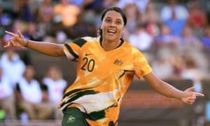 Australia's Sam Kerr in the kit designed for the women's team.