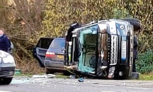 Prince Philip's car was seen on its side after the crash near Sandringham.