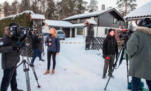 Reporters outside of the house of of Norwegian multi-millionaire Tom Hagen in Fjellhamar, east of Oslo