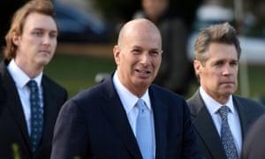 Gordon Sondland, center, arrives at the US Capitol in Washington DC, on 17 October.
