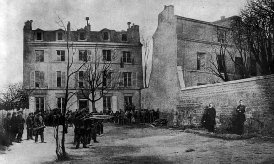 The execution by a communard firing squad of two French army generals, which started the Paris Commune. The photograph was taken at a restaging of the event for propaganda purposes.