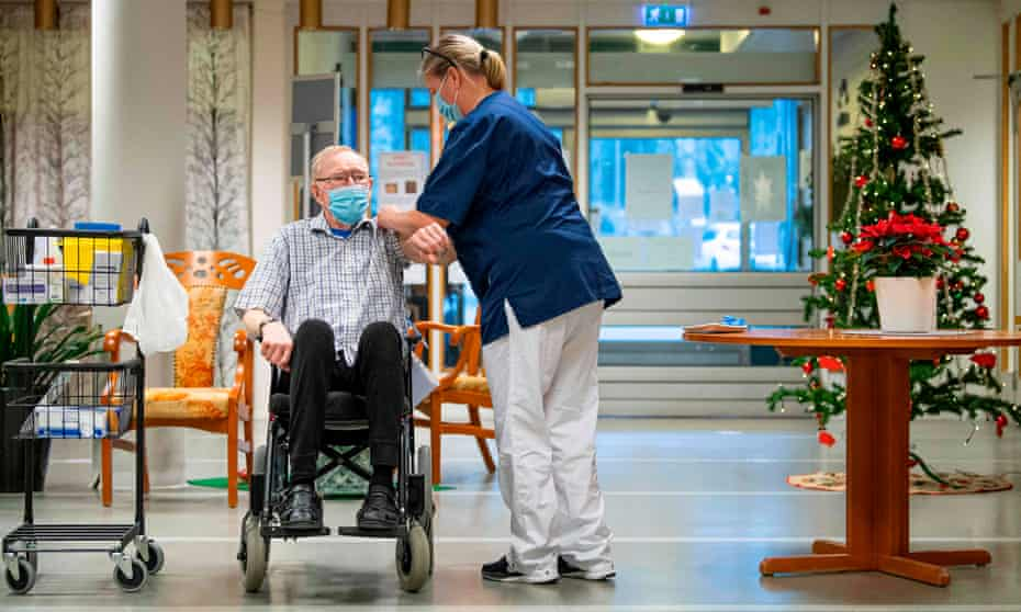 A care home resident receiving a Covid vaccine dose in Nyköping, Sweden