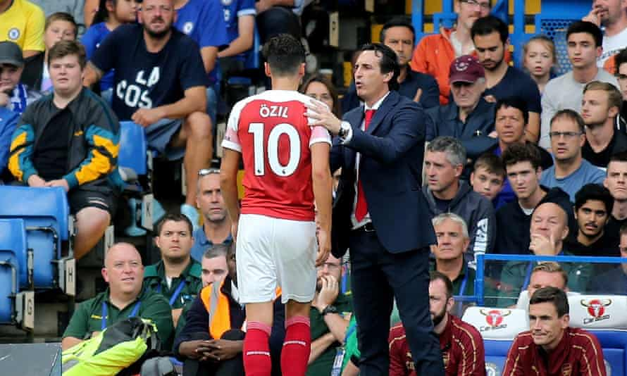 Unai Emery took Mesut Özil off after 68 minutes during last week's defeat at Chelsea