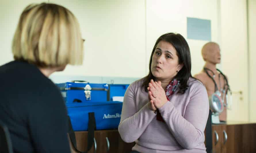 Ismete Osmanaj, a GP from Albania, talks to a mock patient as part of the Building Bridges course.