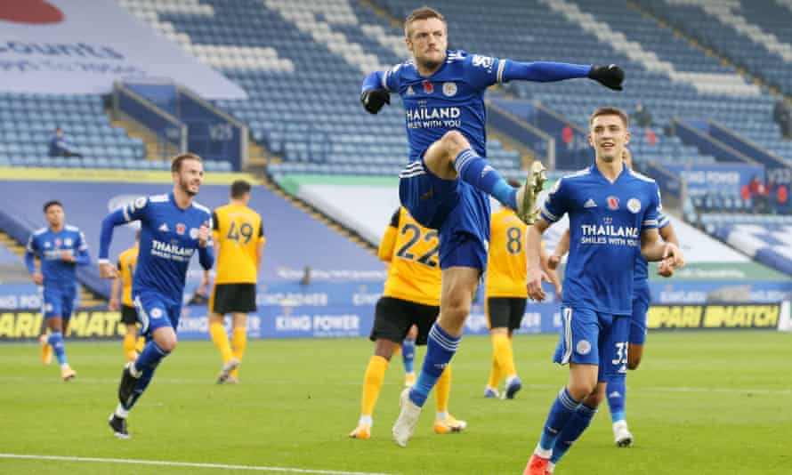 Jamie Vardy celebrates after his first-half penalty gave Leicester the lead against Wolves