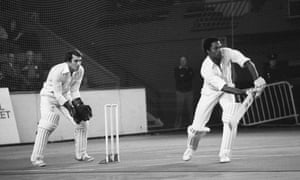Norbert Phillip (West Indies) bats in front of Leicestershire wicketkeeper Roger Tolchard in the indoor Double Wicket Championship at Wembley Arena in 1978.