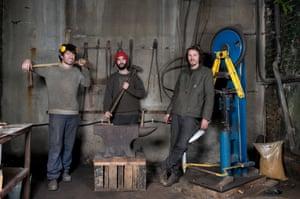 Blenheim Forge knife-makers (from left) Richard Warner, Jon Warshawsky and James Ross-Harris