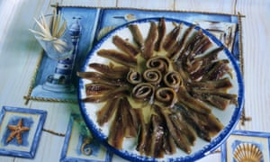 A plate of anchovies.